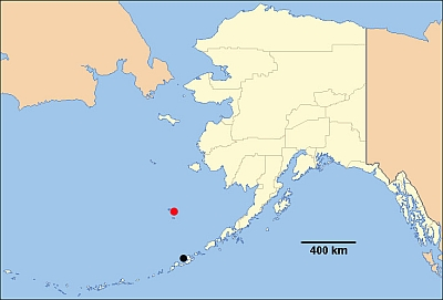 A map showing the location of Walrus Island (red dot) in the Pribilofs and Bogoslof Island (black dot) in the Aleutians. Bent sailed from Bogoslof to St. Paul Island (the main island near Walrus), some 400 km, through a thick fog by compass only. They found the island by following sea birds.