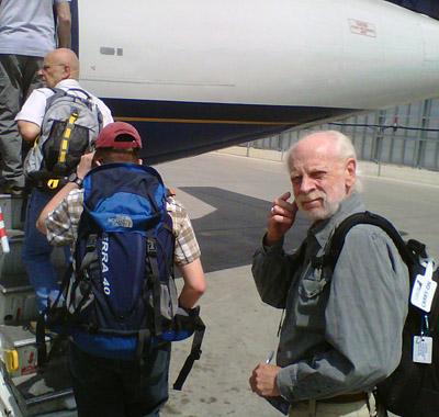 Boarding the plane from the runway in Winnipeg, are (L-R) Dave Rudkin, Matt Demski, and Ed Dobrzanski.