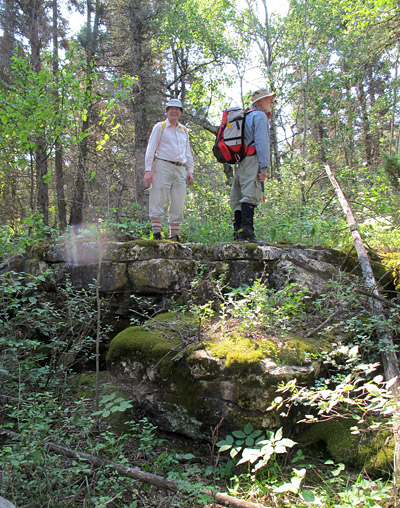 Success! Bob and Ed on top of a bedrock scarp.