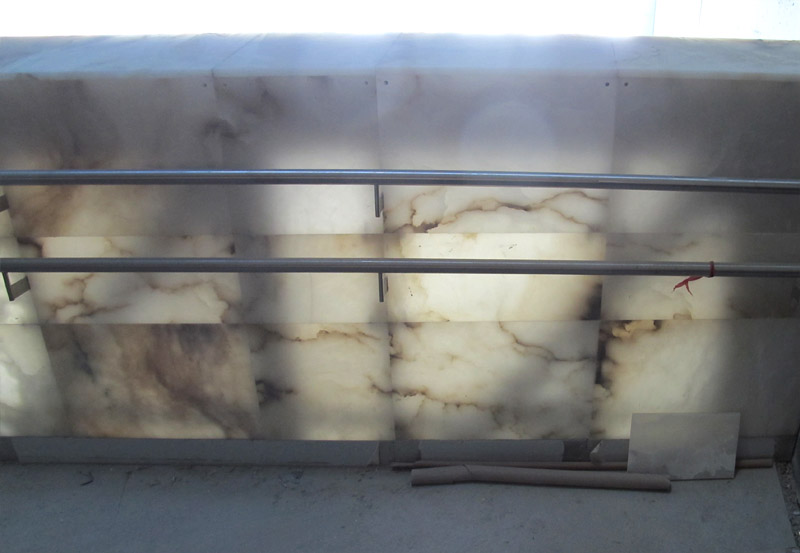 Translucent alabaster on the side of a ramp