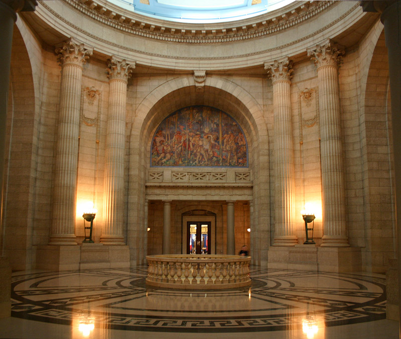 The Rotunda inside the Manitoba Legislative Building features walls of Manitoba Tyndall Stone, and floors of Tennessee marble, Verde Antique marble, and Ordovician black marble.
