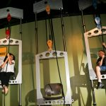 Kids lifting themselves in pulley chairs
