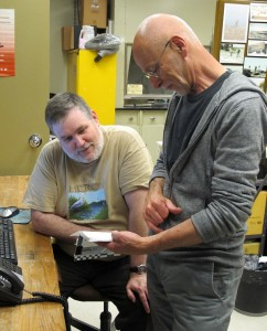 Michael (L) and Dave discussing specimen notes.