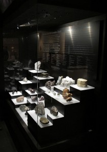 One of the Museum's mineral cases: lighting and design are critical to modern exhibits.