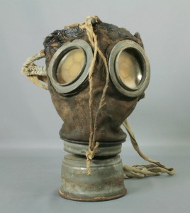 This German gas mask was brought back to Canada as a souvenir by Lance Corporal Alfred E. Deplock, Canadian Expeditionary Force, 1914-1918. Deplock was born in Winnipeg in 1883 and served in the Boer War in South Africa. During WWI he was a sharpshooter and also played clarinet in the 1st Canadian Expeditionary Force Band. H9-21-622. Copyright The Manitoba Museum.