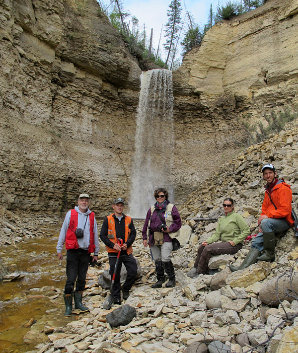 Visiting the waterfall at Surprise Creek.  L-R: Me, Daniel Shaw (Manitoba Geological Survey), Michelle Boulet Nicolas (MGS), Michelle Trommelen (MGS), Daniel Gibson (Churchill Northern Studies Centre). Photo by our helicopter pilot, Frank Roberts