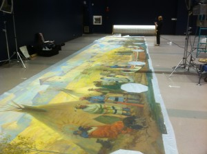 The mural unrolled and ready for photos and appraisal.