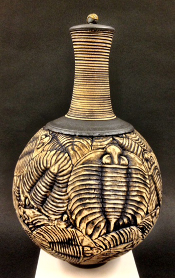 Black trilobite urn, made by Kevin Conlin. (photo courtesy of the artist)