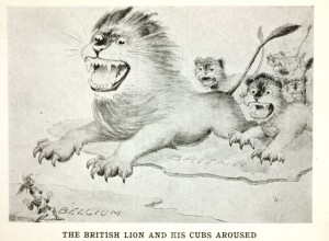 """This postcard depicts Great Britain as the lion, and the colonies and dominions as his """"cubs"""". Canada is the cub on the right. They are attacking a German general to help defend Belgium."""