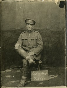 This postcard was sent to Mrs. Manchester, of 32 Lipton St., Winnipeg MB. The soldier is unidentified.