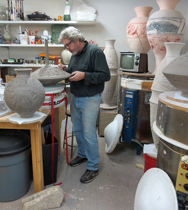Kevin creating ceramics