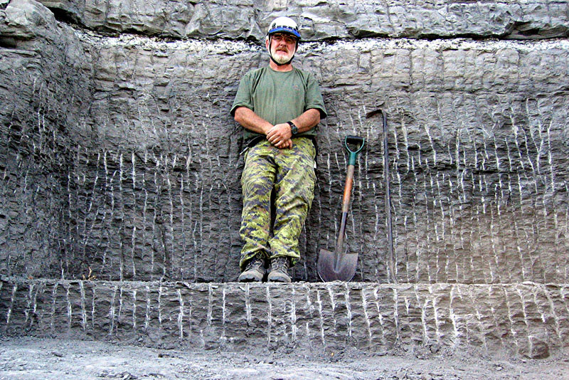 Wayne in the fossil quarry he created during collection of the plesiosaur