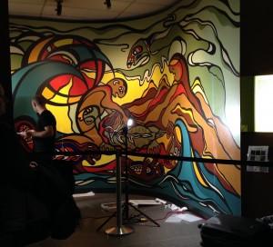 Work begins on the mural