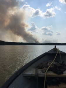 A forest fire broke out near Barrington River when we were fishing and quickly spread.