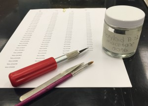 Labelling tools. Until recently, labels were written onto artefacts using fountain pens. It was harder to do and even harder to read.