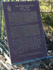 Plaque on Gillam Island in honour of Thomas Button.