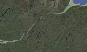 A close up of the Nelson and Hayes rivers (Map adapted from Google Earth).