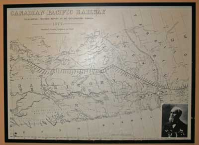 The original 1877 Canadian Pacific Railroad route was set to go along a more northerly route.