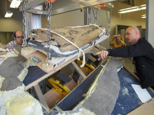 As the skull is lifted, Bert makes sure that everything is kept straight.