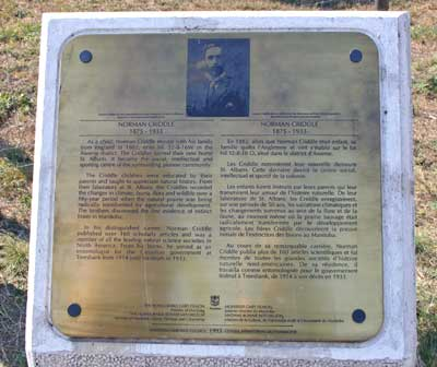 Plaque about Norman Criddle at the Criddle-Vane National Historic site.