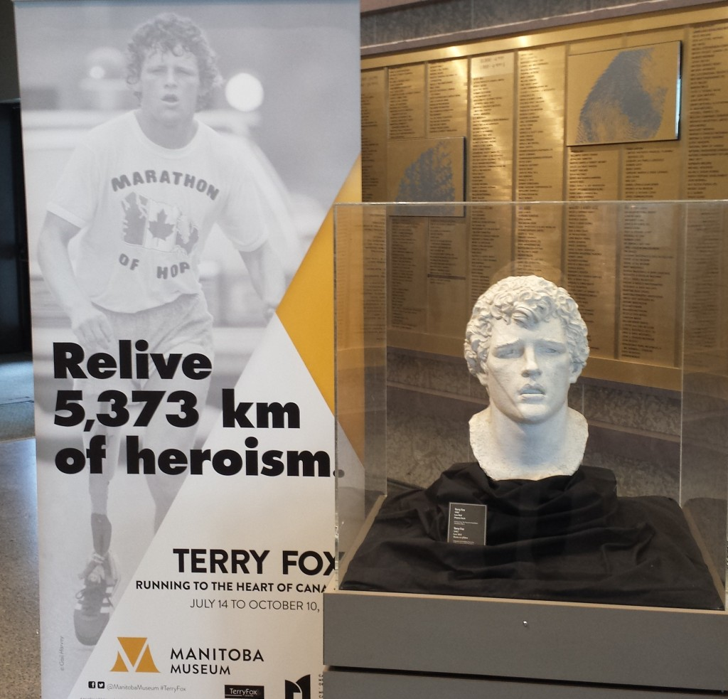 "Plaster bust of Terry Fox by Leo Mol, dated to 1982, has been loaned by the Terry Fox Foundation (Manitoba Office) for the exhibit ""Manitobans Remember Terry Fox""."