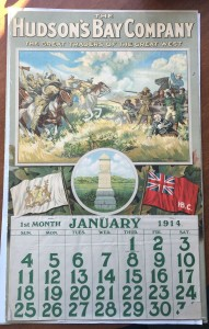 The 1914 HBC Calendar shows the Battle of Seven Oaks, painted by Charles William Jefferys.