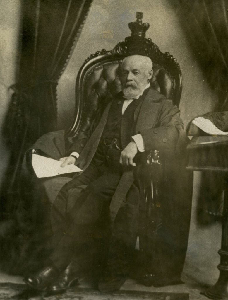 William Hespeler seated in the Speaker's Chair, ca. 1903. Courtesy Jeremy Hespeler-Boultbee.