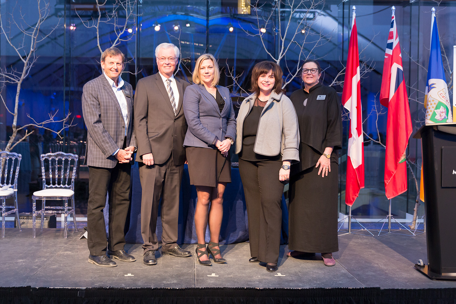 Jeoff Chipman, Chair of the Capital & Endowment Campaign (far left) and Claudette Leclerc (far right) with project funders (l to r): Rick Frost, CEO, The Winnipeg Foundation; The Honourable Rochelle Squires, Minister of Sport, Culture and Heritage; Brigitte Gibson, Regional Director General - Prairies & Northern Region,  Department Canadian Heritage.