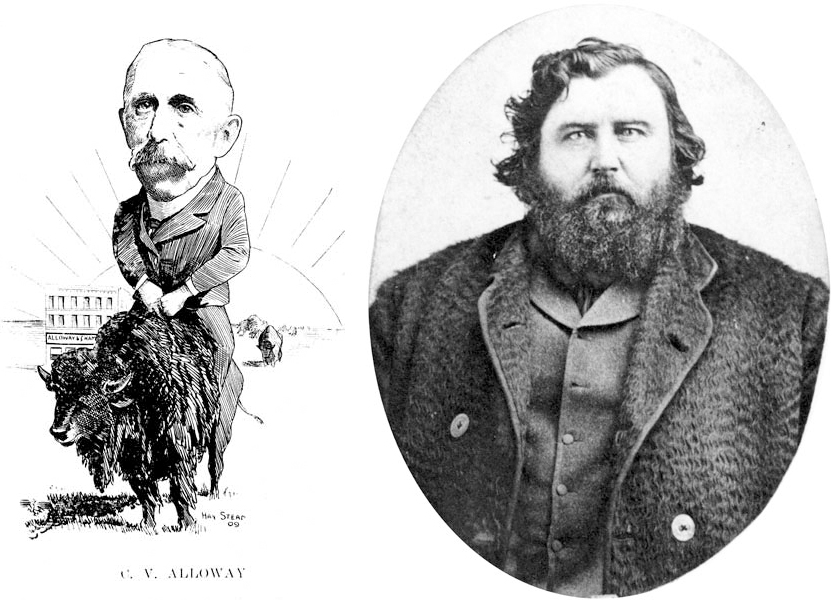 Caricature of Charles Alloway (Manitobans As We See 'Em, 1909) and photo of James McKay (Archives of Manitoba), two initial founders of a bison herd in Manitoba that, in part, found its way to the Pablo-Allard herd in Montana.
