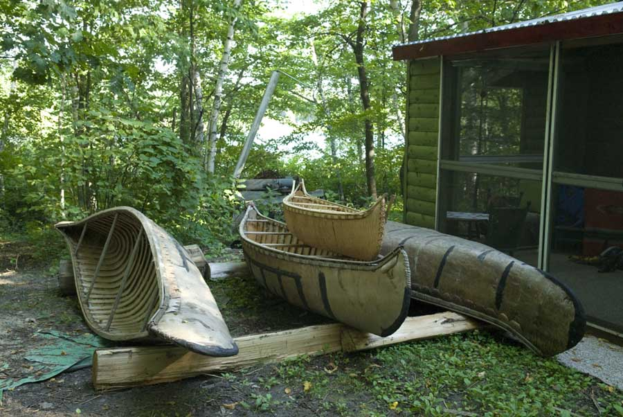 Canoes at Grant and Christy home