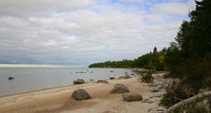 A deserted Victoria Beach.