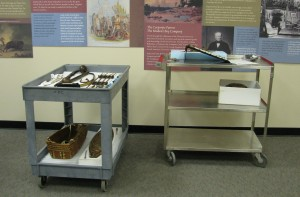 Artifacts on carts, ready to install. Some of them have storage mounts.