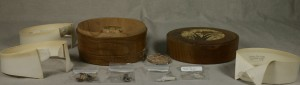 The collar boxes and contents after cleaning.