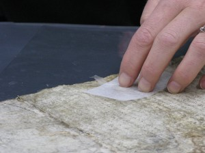 Repairing a parchment tear with gelatine and goldbeater's skin