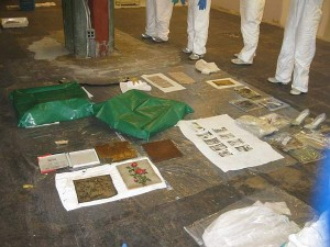 In one room, wet objects are laid to dry on paper towels and clear polyethylene