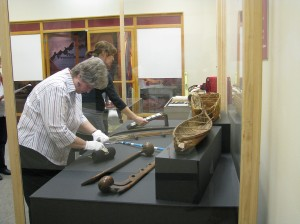 Nancy and Stephanie placing artifacts