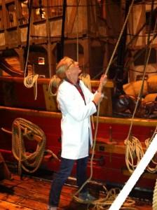 Carolyn working on deck