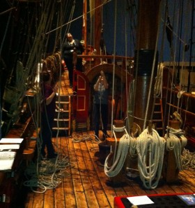 Museum staff moving lines on the ship