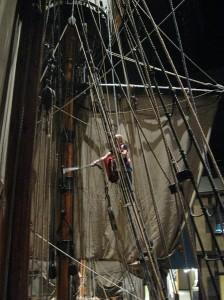 Vacuuming the main mast