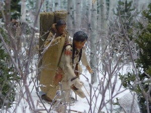 Closeup of winter travelling scene, Ashkibokhan Diorama
