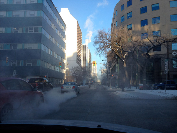 Downtown Winnipeg, as it has looked so often this winter.