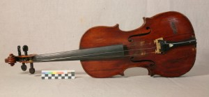 The Sutherland Violin. The strings have been loosened to relieve tension on the fragile front of the instrument.