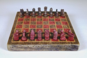 Chess set made by Winnipeg Grenadier POW, Hong Kong, ca. 1942-1944. H9-37-547-a-ag. Unless otherwise noted, The Manitoba Museum holds copyright to the material on this site.